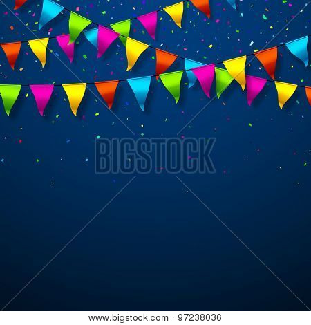 Colorful bunting flags with confetti festive background. Vector.