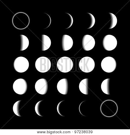 Lunar phases vector illustration