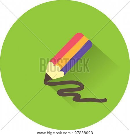 Stock Vector Illustration. Pencil icon. Flat vector illustration