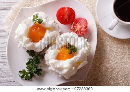 Beautiful Breakfast: Eggs Orsini And Coffee Horizontal Top View