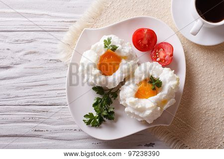 Breakfast Aristocrat: Eggs Orsini And Coffee Horizontal  Top View