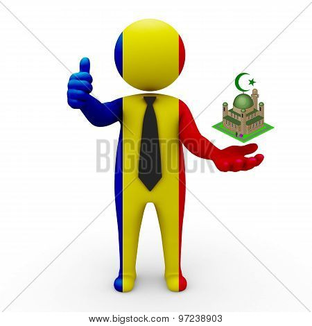 3d businessman people Romania - Muslim mosque and Islam in Romania