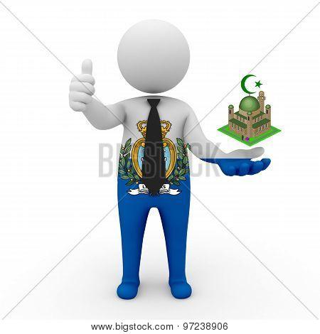 3d businessman people San Marino - Muslim mosque and Islam in San Marino
