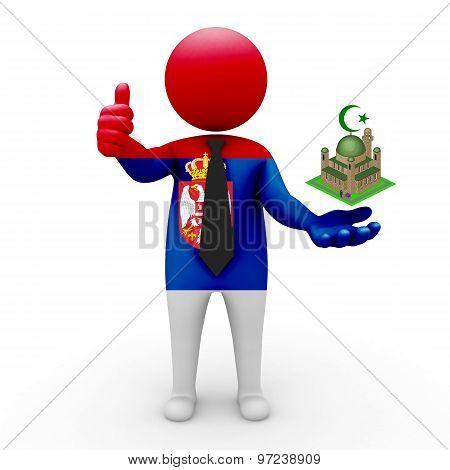3d businessman people Serbia - Muslim mosque and Islam in Serbia