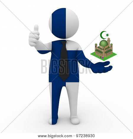 3d businessman people Finland - Muslim mosque and Islam in Finland