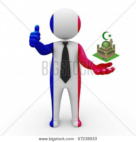 3d businessman people France - Muslim mosque and Islam in France
