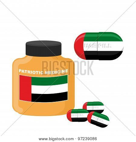 National Patriotic Medicine Uae. Pill With The Flag Of The United Arab Emirates. Vector Illustration