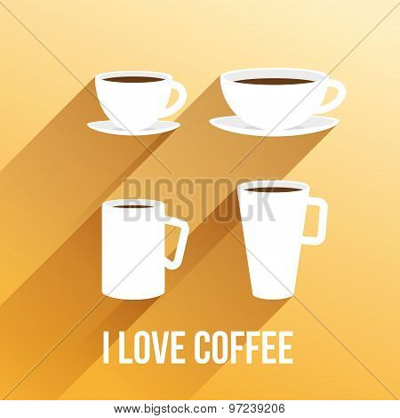 Vector llustration with coffee cups.