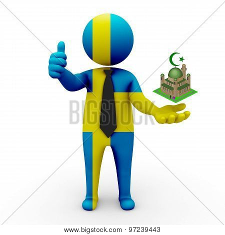 3d businessman people Sweden- Muslim mosque and Islam in Sweden