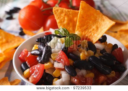 Mexican Salsa In A Bowl And Corn Chips Nachos Macro. Horizontal