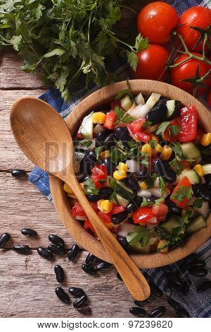 Vegetable Salad With Black Beans Close-up Vertical Top View