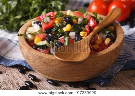 Mexican Vegetable Salad On Plate Closeup And Ingredients Horizontal