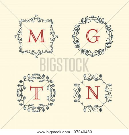 Set Of Minimal Line Art Geometric Vintage Labels. Vector Illustration
