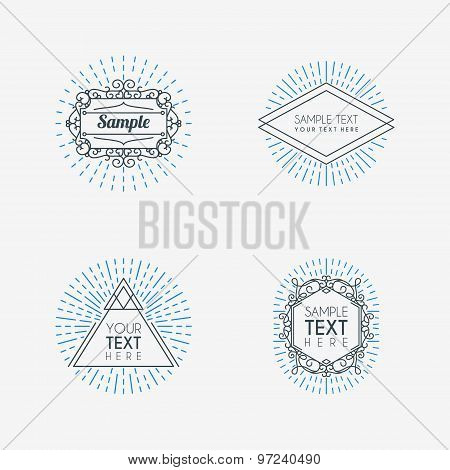 Set Of Hipster Vintage Labels Or Badges. Thin Line Design Template