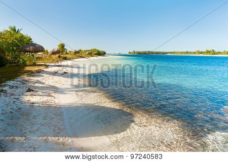 Soft Wave Of The Sea On The Sandy Beach. Blue Sky, White Sand, Palm Trees. Cuba, Caribbean Sea.