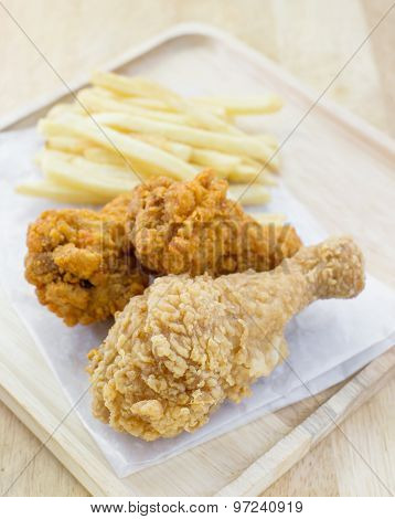 Crispy Chicken And French Fries, Selective Focus Point