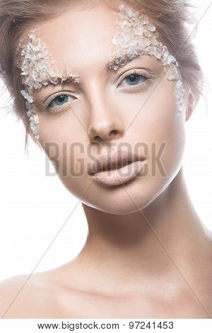beautiful blond woman model with bright make-up gentle creative art. Beauty face.