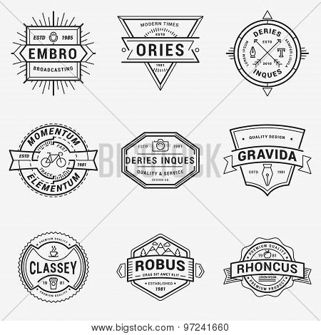 Set Of Thin Line Hipster Logotypes Or Insignias