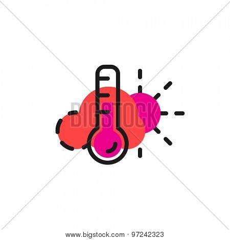Color line icon for flat design isolated on white. Weather and temperature