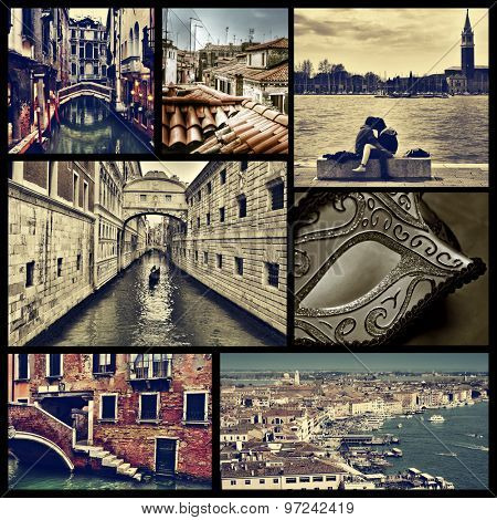 a collage of some pictures of different locations in Venice, Italy, such as small canals, the Bridge of Sighs or the Grand Canal, cross processed