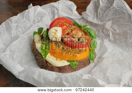Sandwich With Mozzarella And Tomatoes