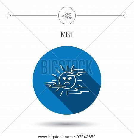Mist icon. Fog with sun sign.