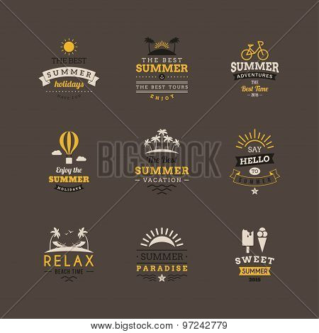 Set Of Retro Summer Holidays Vintage Label. Vector Design Elements