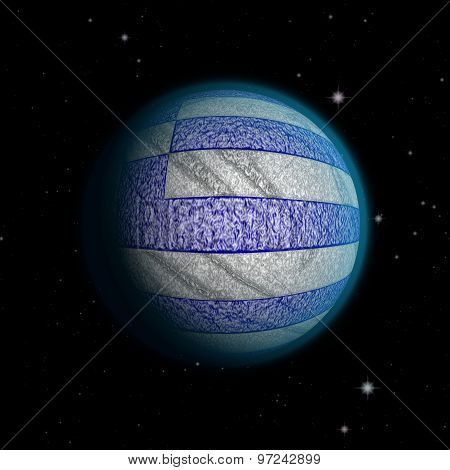Abstract Planet Greece With Destroyed Surface In The Greek Flag Style With Blue Atmosphere Lost In T