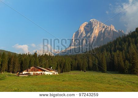 House Farm With Green Forest And Tofane Peak, Dolomites Alps
