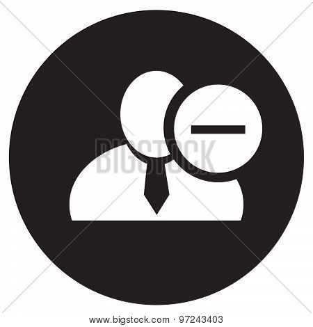 White Man Silhouette Icon With Minus Sign In An Information Circle, Flat Design Icon In Black Circle