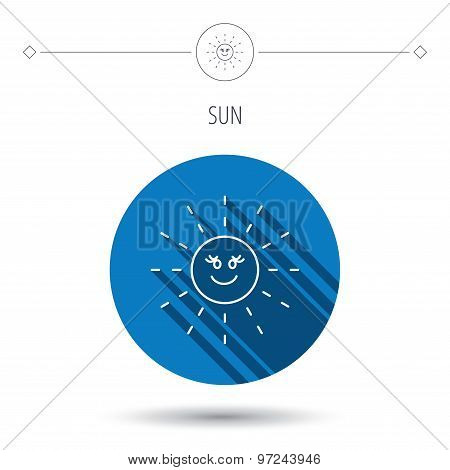 Sun rays icon. Summer sign.
