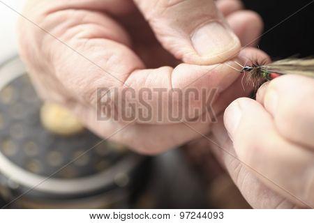 Artificial fly held by man
