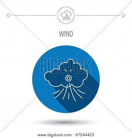 Wind icon. Cloud with storm sign.