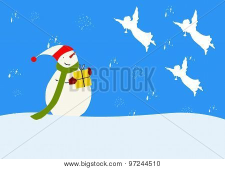 Snowman And Angels