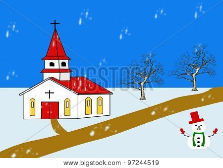 A Village Church In Winter With Snowman
