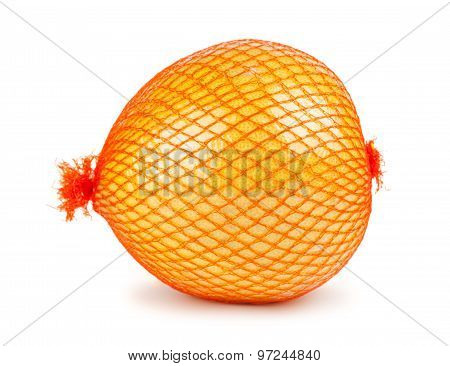 Single Pomelo Fruit Wrapped In Plastic Reticle