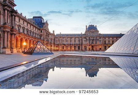 Louvre Museum In Paris At Sunrise, France