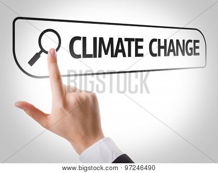 Climate Change written in search bar on virtual screen