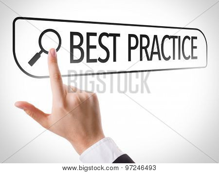 Best Practice written in search bar on virtual screen