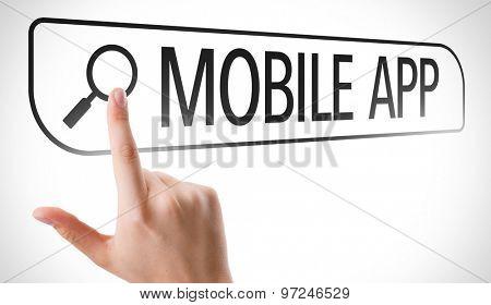 Mobile App written in search bar on virtual screen