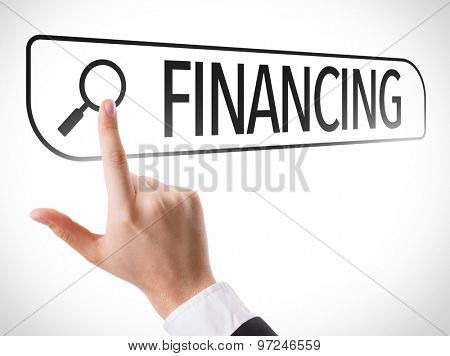 Financing written in search bar on virtual screen