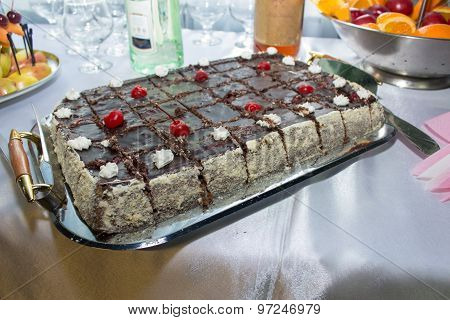 Square Cake With Cherries
