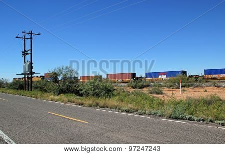 NEW MEXICO, USA - SEPTEMBER 30: Union Pacific Freight Train Travels through Desert Area of New Mexic
