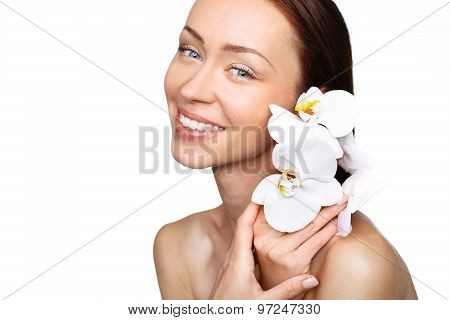 Woman with orchid