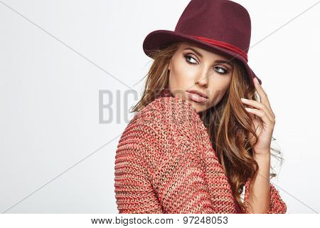 Autumn woman portrait. Shoot in studio