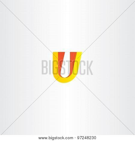 Yellow Red Letter U Logo Symbol Design Element