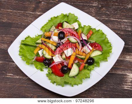 Fresh Vegetable Colorful Greek Salad In Pate
