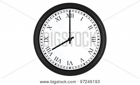 Realistic 3D clock with Roman numerals set at 8 o'clock