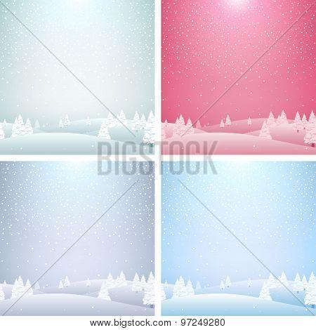 Set of Christmas landscape backgrounds.