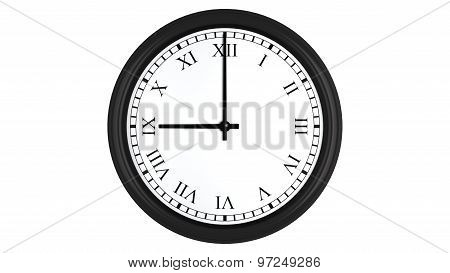 Realistic 3D clock with Roman numerals set at 9 o'clock